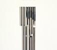 Dasein leopardiano (2000)   Acciaio inox lucido e fotografia   cm 60x70x190   Courtesy Galleria Bonioni Arte