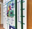 Geometrie d'ambiente, 2016, installazione, acrilico su tela e intonaco, acciaio policromo. Palazzo Da Porto, Vicenza