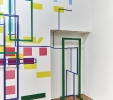 Geometrie d'ambiente, 2016, installazione, acrilico su tela e intonaco, alluminio policromo. Palazzo Da Porto, Vicenza